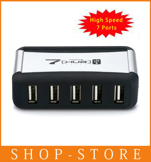 Free Shipping 7 Port USB 2.0 High Speed HUB + AC Power Adapter Black