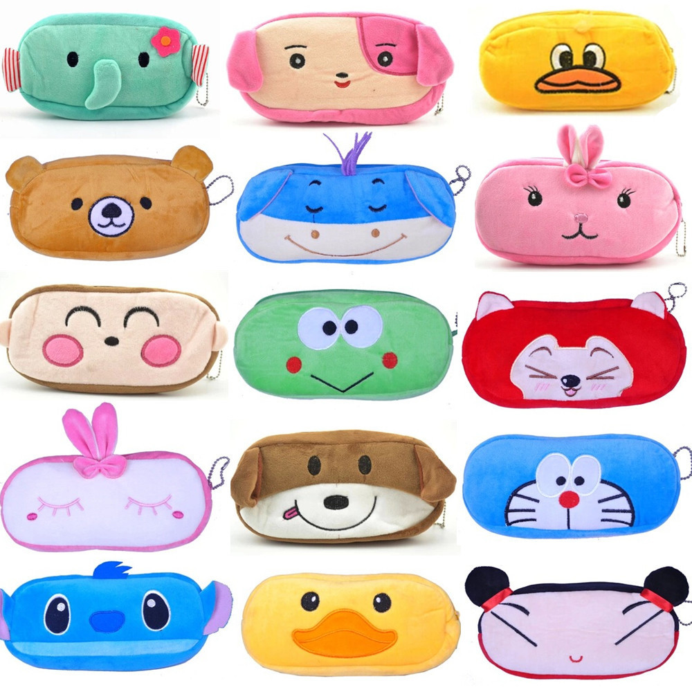 New Cute Cartoon Kawaii Pencil Case, Plush Large PEN BAG for Kids School Supplies Material Korean Stationery Free shipping(China (Mainland))