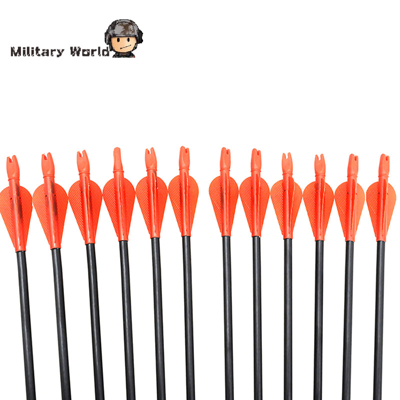 12pcs pack Hunting Tactical 80cm Length 15 80lbs Lightweight Arrows For Compound Bow Recurve Bow Outdoor
