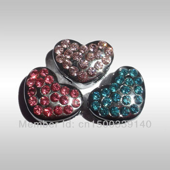 Free shipping!! Wholesale 10mm Heart slider Dog Pet charm Czech Stones Price. Red, Pink, Rose,Blue,Clear MOQ:50pcs mix 4 Colors