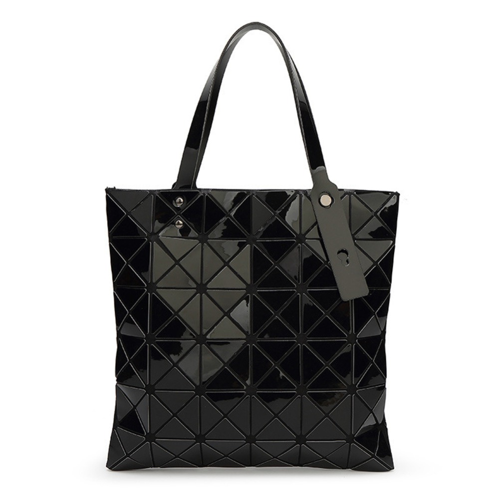 Women Fashion Geometry Laser Quilted Shoulder Tote Bag Bling Handbag(China (Mainland))