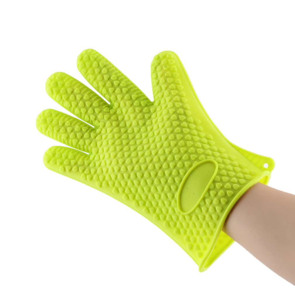 Free Shipping 1pcs Heat Resistant Silicone Glove Cooking Baking BBQ Oven Pot Holder Mitt Kitchen Green(China (Mainland))