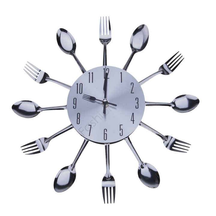 Cool Stylish Modern Design Wall Clock Silver Kitchen Cutlery Utensil Vintage Design Wall Clock Spoon Fork Home Decor 30(China (Mainland))