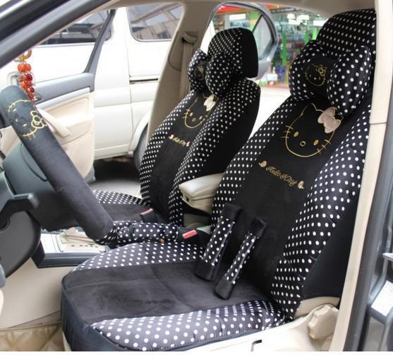 18pcs black white polka dot hello kitty car seats cover set cartoon auto chairs full set front rear covers for car seats(China (Mainland))
