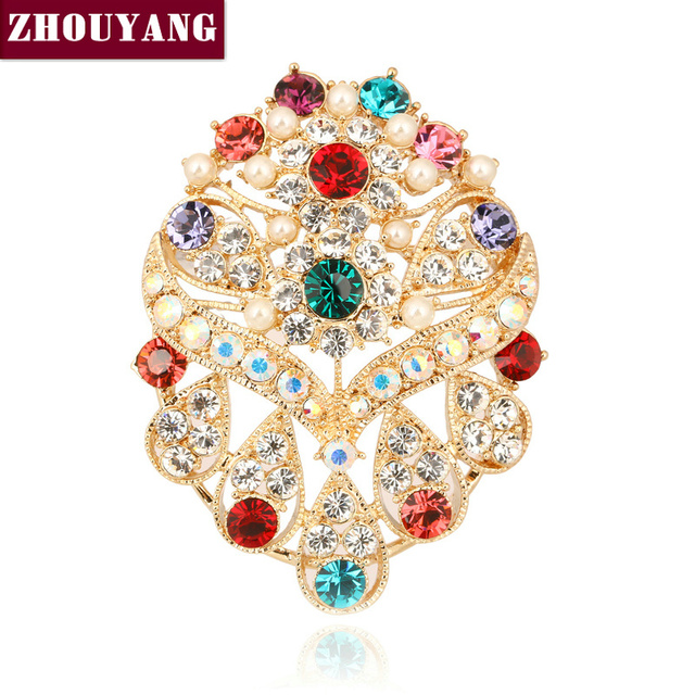ZHOUYANG ZYX013 Gorgeous Multicolour Crystal Brooches  Champagne Gold Plated  Jewelry Austrian Crystal  Wholesale