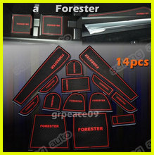 free shipping Silicon Non-Slip Interior Door / Cup Mat  Interior For 2013-2015  Subaru Forester red 14pcs(China (Mainland))