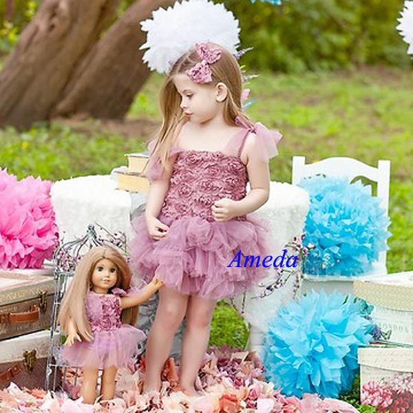 """الفتيات الوردي مترب ريدات توتو زهرة حزب اللباس مطابقة 18 """"فتاة أمريكية دمية الزي 1-7y(Hong Kong)"""
