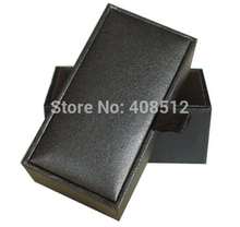 100pcs wholesale price black artificial leather paper and grey board 1 pair cufflinks box cufflink case(China (Mainland))