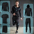 Men compression pants tights base layer gym fitness winter basketball clothes sport training running suits 3pcs