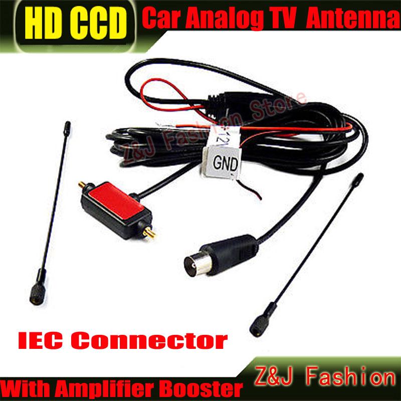 IEC Connector Car analog TV antenna with built-in signal amplifier Car TV antenna Car Analog antenna Car Analog Antenna(China (Mainland))