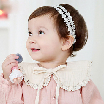 2016 New Korea Spring Lace Girls Collar with Bow Tie Lovely Princess Plicate Baby Bibs Pink/Beige