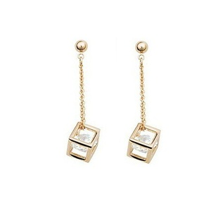 Cube inside CZ Diamond Crystals 18K Gold Plated Drop Earrings and Pendant Necklace Fashion Bride Wedding