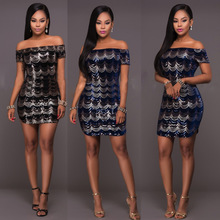 Buy Hot fashion elegant style 2017 summer dress short sleeve bandage dress slash neck mini sexy dress XM6030 for $17.89 in AliExpress store
