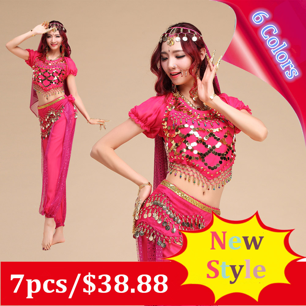 New Style Belly dance clothes costume set indian wear 7pcs Top&Pant&Belt&Headband&Necklace&Nail Accessories&Nose Chain,6 colors