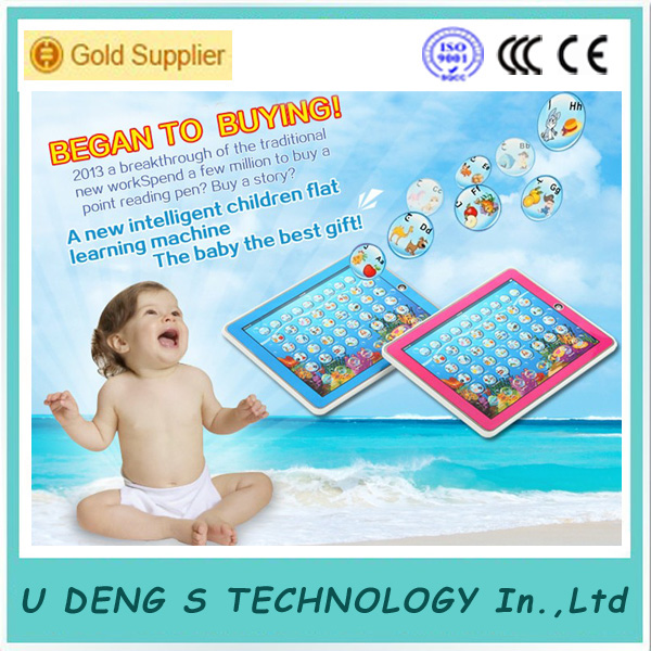 Free Shipping Pink Color Arabic & English language Children Educational Study Learning Computer Machine Toys Y pad Tablet Toy(China (Mainland))