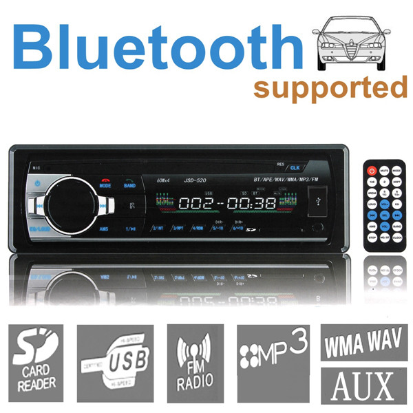New 12v Bluetooth Stereo Radio Car MP3 Player in Dash Head Unit Electronics Subwoofer 1 Din USB/SD AUX FM<br><br>Aliexpress
