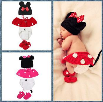 Baby Girl Crochet Minnie traje accesorios de fotografía de punto ...