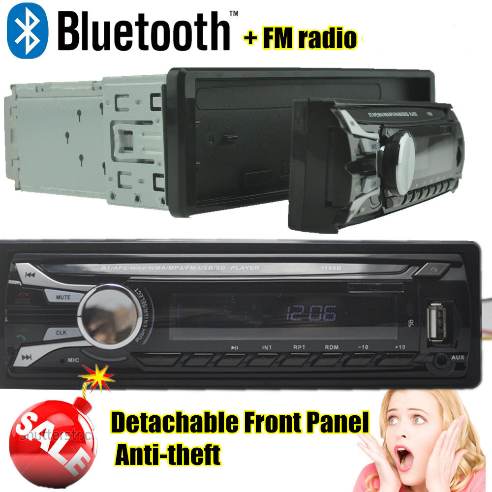 2016 NEW 12V Bluetooth Car Radio MP3 Audio Player removable dechatable front panel MP3 FM function /USB/SD/ In-Dash 1 DIN(China (Mainland))