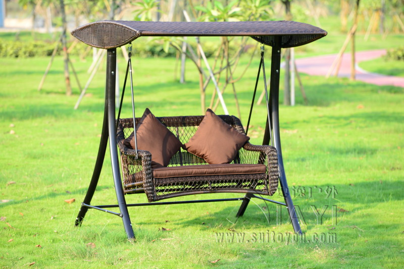 2 person wicker patio garden swing chair haning hammock rattan outdoor cover seat bench with cushion(China (Mainland))