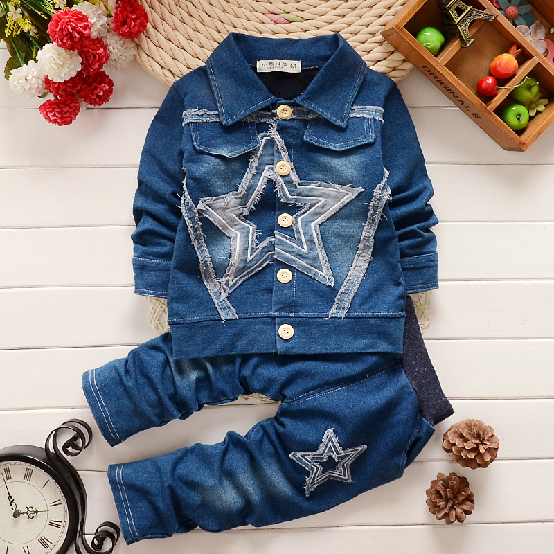 Hot Sale New 2015 Spring Kids Clothes, Jeans jacket Sports Suit, Kids Christmas Outfits Casual Boys Clothing Set for 2-5Y(China (Mainland))