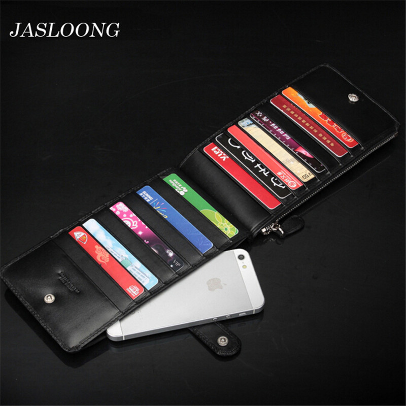 JASLOONG Business 100% Genuine Leather Men Credit Card Holder with Brand Solid Knitting ID Card Holder Personalized Name Bag(China (Mainland))