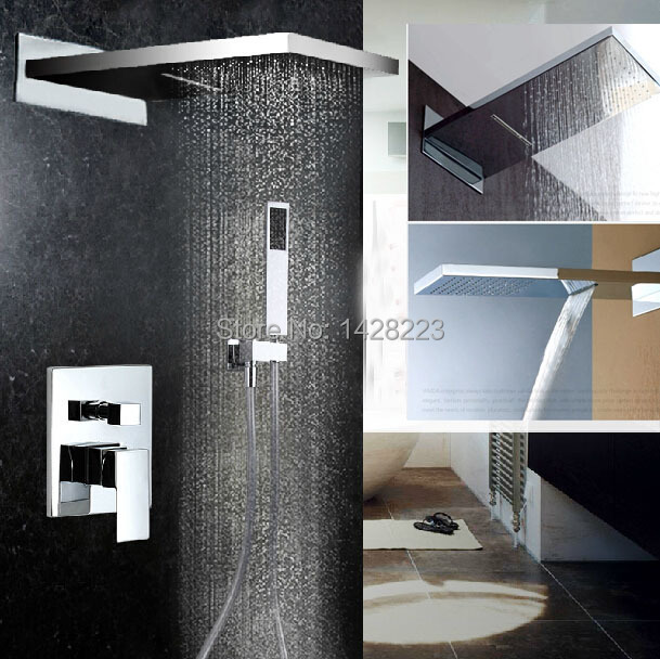 Luxury Chrome Brass Rain Waterfall Shower Set Faucet Wall Mounted with ABS Handshower(China (Mainland))