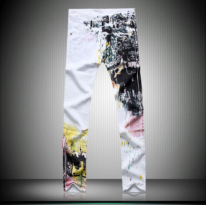 Скидки на Мужская одежда Прямые брюки поддельные дизайнер одежды Хлопок печати белый pantalones вакеро hombre джинсы молния G239