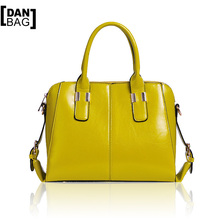 Hot Sale DANBAG Brands High-end Women Leather Handbags Imported PU Leather Oil Wax Tote Fashion Shoulder Bags Shell Bag 4 Colors(China (Mainland))