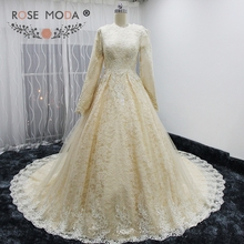 Buy Rose Moda Luxury High Neck Long Sleeves Muslim Lace Wedding Dress Champagne Wedding Dresses 2017 Royal Train for $429.00 in AliExpress store