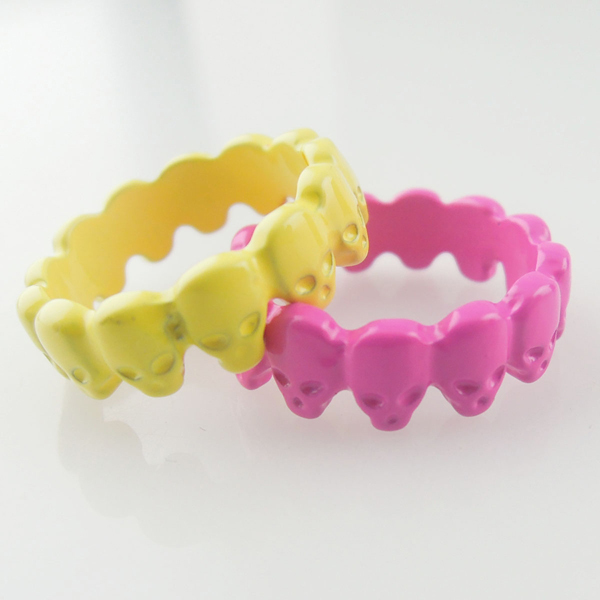 New Stylelish Candy Color Finger Rings,Colorful Skull Rank Rings, Concise Finger Rings for Women, Skull Skaleton Rings Wholesale(China (Mainland))