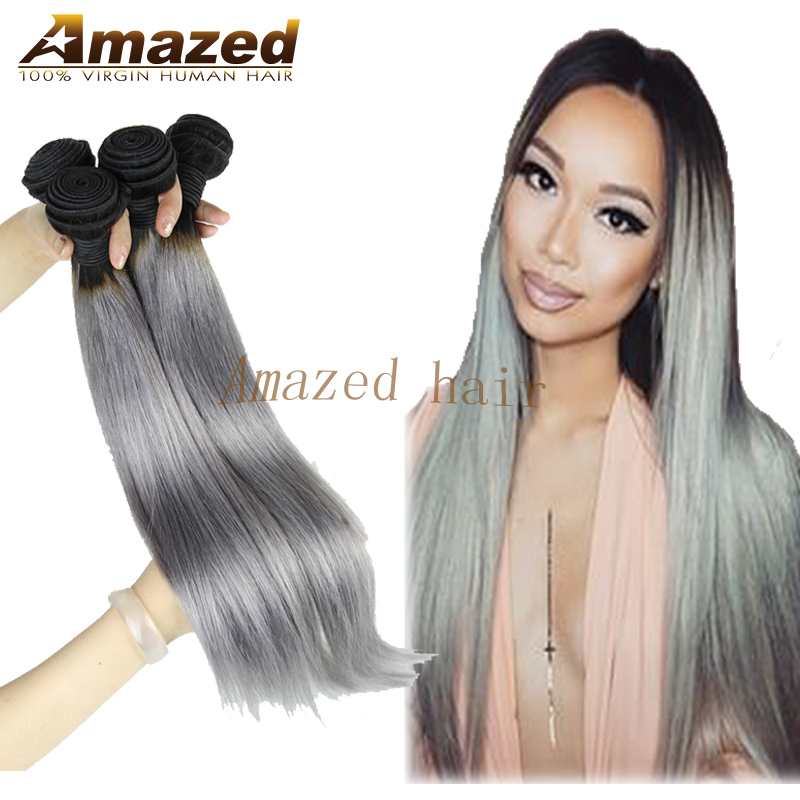 Rosa Hair Products Ombre Brazilian Hair Two Tone 1b/Gray Ombre Human Hair Weave Extensions Indian Virgin Straight Hair 3Pcs Lot<br><br>Aliexpress