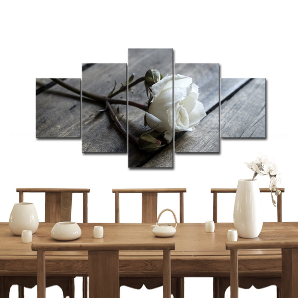 Wieco Art 5 Panels Large Size White Rose Picture to Photo Prints on Canvas for Wall Decor No Frame()