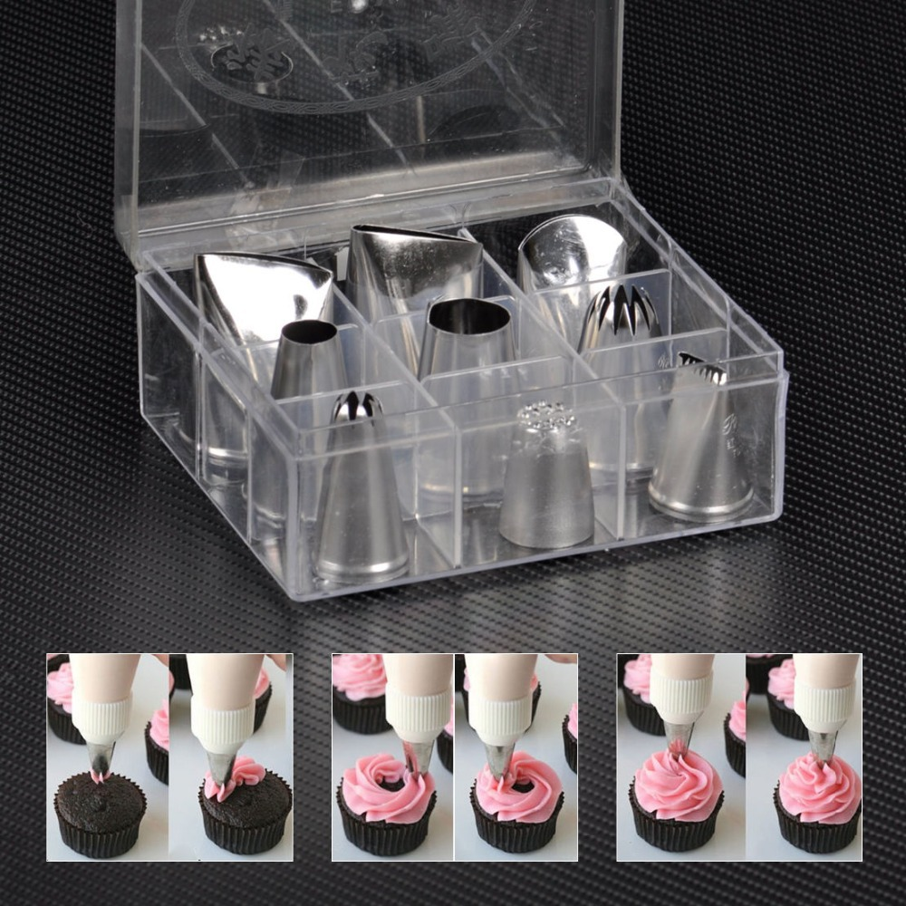 Chef Bakers 9pcs Large Icing Piping Nozzles Pastry Fondant Cake De 9 Douilles Poche Embout Inox Sugarcraft Decorating Tools(China (Mainland))