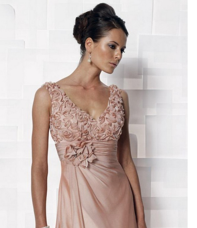 Wholesale - v-neck chiffon dress 2014 English rose bridal gown's mother(China (Mainland))