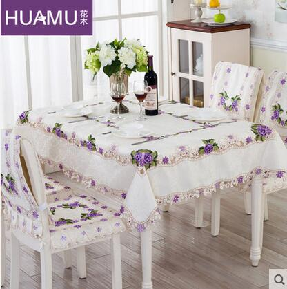 Purple Floral Lace Tablecloth Jacquard Table Cloth table covers home decoration Wedding Tablecloth Different sizes available(China (Mainland))