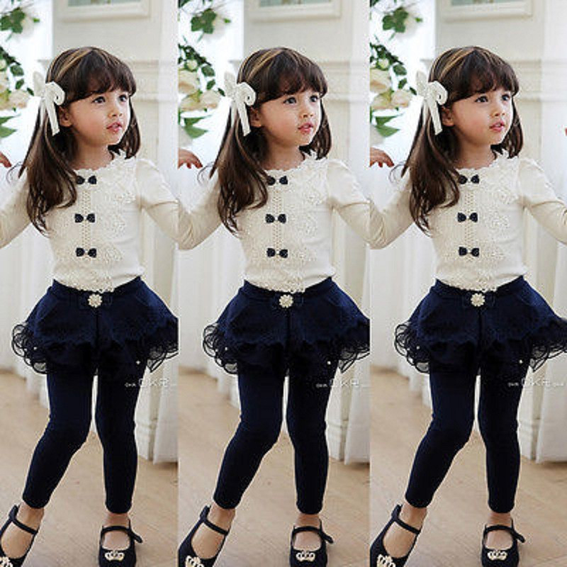 New Cute Princess Baby Kid Girls Bow Tie Lace  T-Shirts Long Sleeve Blouse Tops  3-8Y
