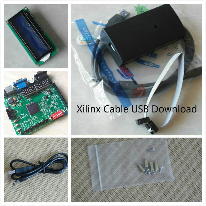 Xilinx Platform Cable USB+LCD1602+ xilinx fpga development board spartan-6 xilinx board xilinx kit xc6slx9-tqg144(China (Mainland))