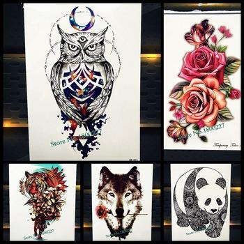 Waterproof Magical Crescent Moon Owl Tattoo Indian Watercolor Henna Tatoo Body Art For Men Women Fake Temporary Tattoo Stickers