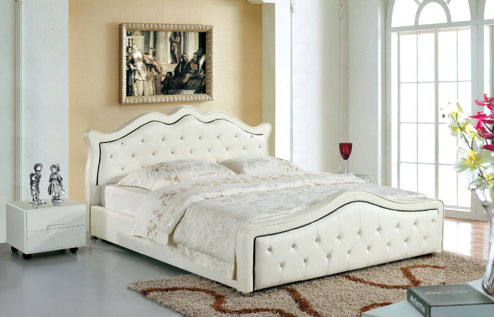 Modern designer italy real leather headboard double bed for Leather headboard designs
