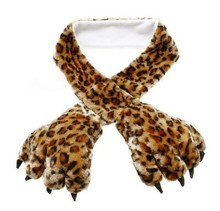 Winter New Soft Warm Fluffy Plush Scarf Glove Cartoon Bear's Paw Scarf Cute Leopard Scarves(China (Mainland))