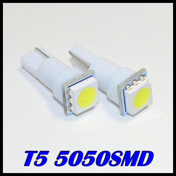 10 x Free shipping T5 led 5050smd LED t5 Bulb with Wedge Base for Dashboards led t5 5050smd 12v White/Green/Blue/Red/Yellow(China (Mainland))