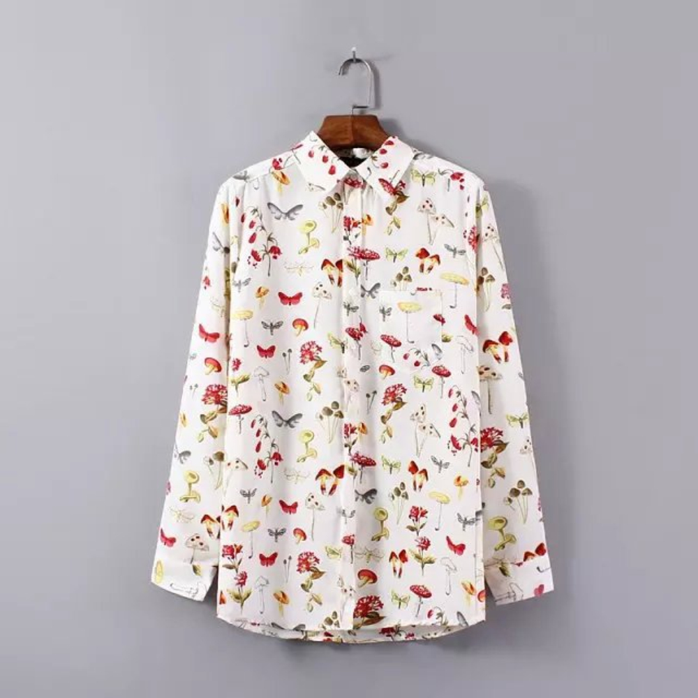 New Brand Butterfly Floral Print Vetement Femme Silk Shirt Women Long Sleeve Blouse Female Casual Tops Cheap Clothes China(China (Mainland))