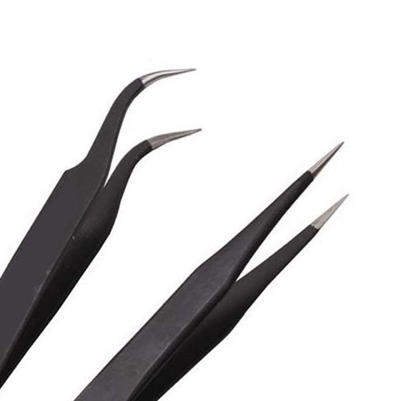 2016 Stainless Steel Nail Art Tweezer Tool Nail Art Gem Decor Picking Tools Eyelash Straight Curved Straight Tweezers