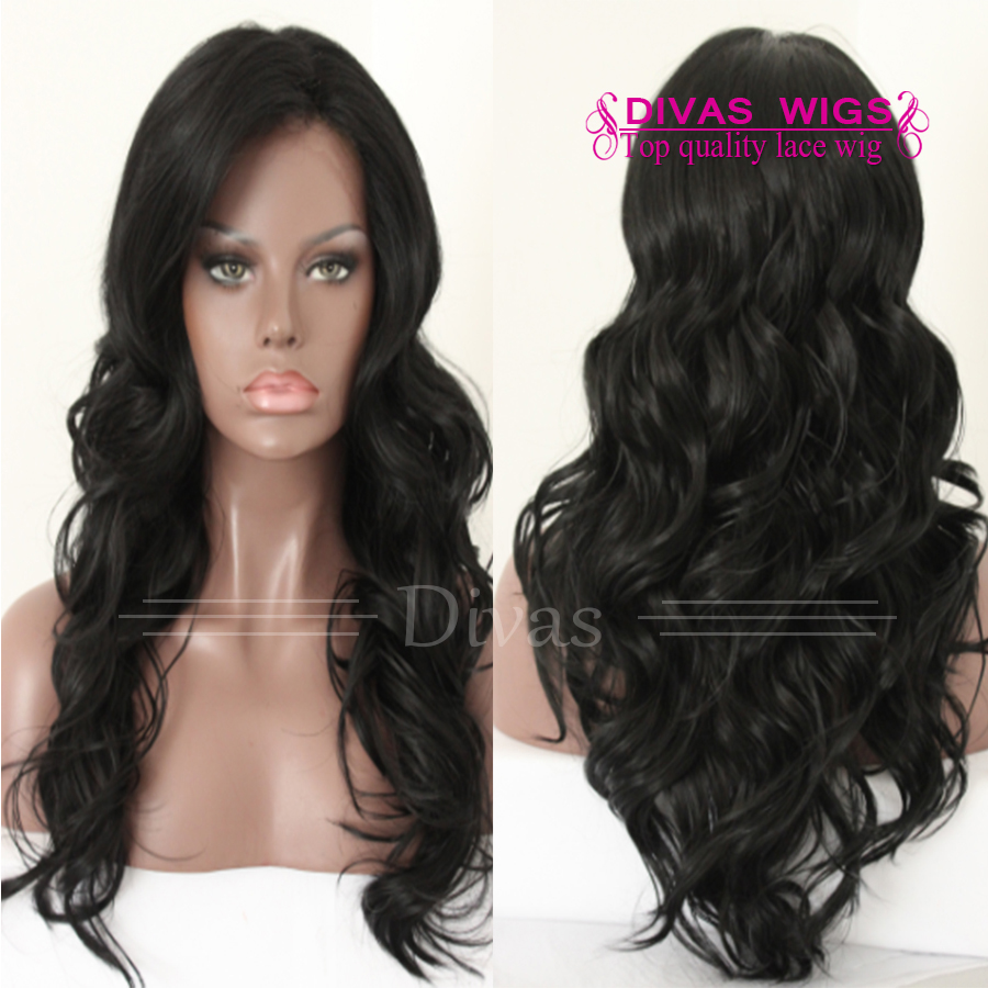 2015 Fashion black bodywave lace front wig heat resistant glueless synthetic lace wig for black women high temperature fiber<br><br>Aliexpress