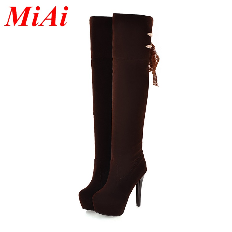 2015 Shoes women autumn and winter brand womens boots high boots high heels women boots over the knee Pointed Shoes size 34-43<br><br>Aliexpress