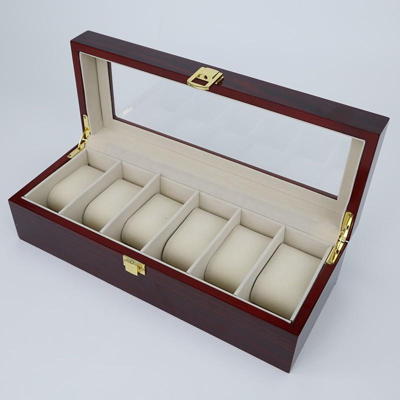 6 Сетки Деревянный высококачественная краска Окна Часы Дисплей Коробки Коробки Случае Показывая cajas para Relojes Хранения Держателя подарочная Коробка
