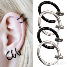 Clip on Hoop Boby Nose Lip Ear Piercing  Earrings Punk Goth Septum for Men 02IE 36U9(China (Mainland))
