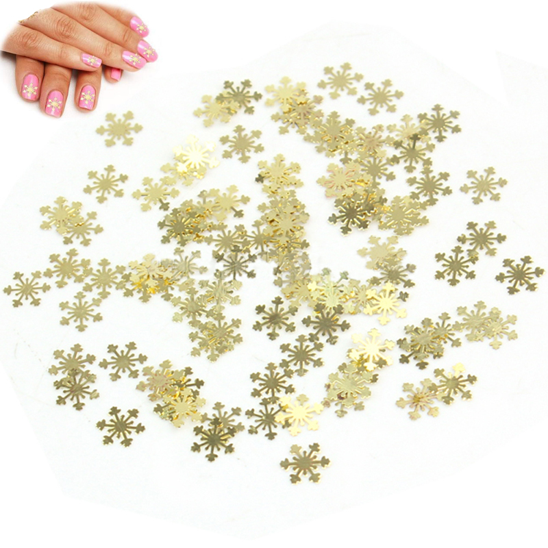 100pcs Pretty Fashion New Gold Snowflake Christmas 3D Nail Art Stickers Decals Decorations 2016 Hot Sell(China (Mainland))