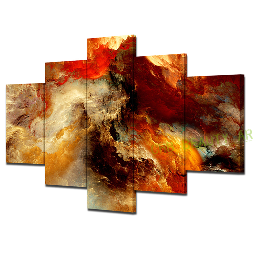 Unframed 5 panel canvas painting abstract 3d graphics for 3 panel painting