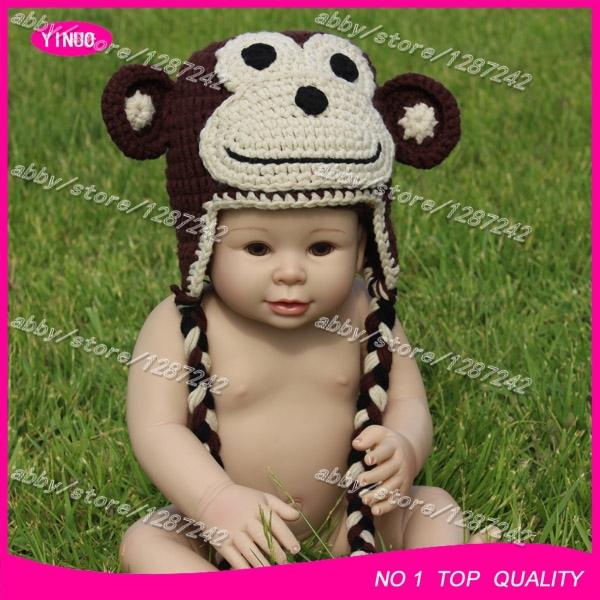 5pcs/lot Hot sale baby hats knitted crochet infant hats crochet monkey hat pattern(China (Mainland))